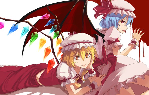 Picture blood, red eyes, Touhou Project, Remilia Scarlet, Flandre Scarlet, project East, a drop of blood, …