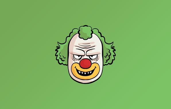 Picture minimalism, face, fear, digital art, artwork, Clown, simple background, teeth, green background