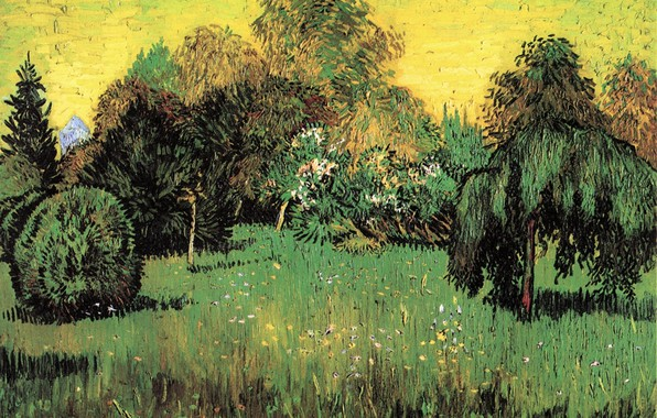 Picture grass, trees, nature, flowers, the bushes, Vincent van Gogh, The Poet s Garden