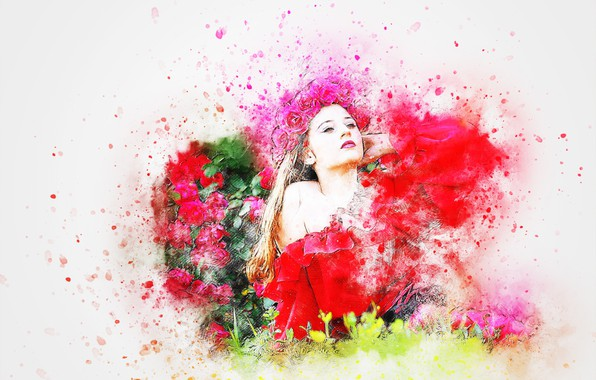 Picture flowers, background, figure, wreath, girl art
