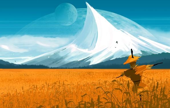 Picture sky, field, mountain, birds, planet, artist, digital art, artwork, fantasy art, crows, space art, JoeyJazz, …