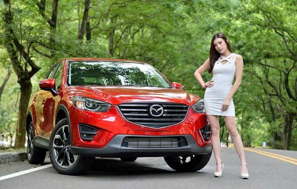 Picture look, Girls, Mazda, Asian, beautiful girl, red car, posing on the car