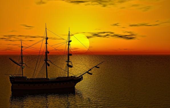 Picture sea, the sun, dawn, ship, sailboat