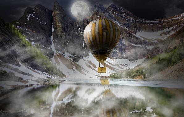 Picture winter, forest, snow, landscape, mountains, night, nature, fog, reflection, balloon, rendering, rocks, the moon, basket, …