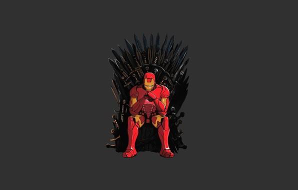 Picture game of thrones, iron man, Tony Stark, iron throne