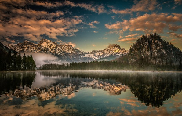 Picture forest, mountains, lake, reflection, Austria, Alps, Austria, Alps, Upper Austria, Upper Austria, Lake Almsee, Lake …