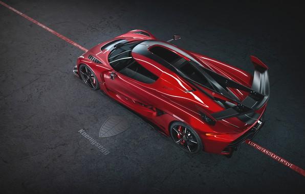 Picture Koenigsegg, supercar, hypercar, 2019, Jesko, 1600 HP, Cherry Red Edition