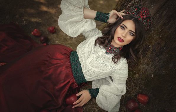 Picture look, girl, decoration, pose, style, makeup, outfit, Marina Zaton