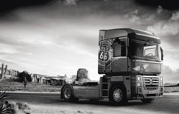 Picture road, rocks, vegetation, desert, truck, Renault, cacti, Route 66, Magnum, tractor, 4x2, Renault Trucks