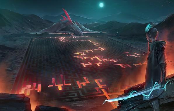 Picture fire, moon, sword, fantasy, weapon, night, mountain, dragon, labyrinth, moonlight, artist, digital art, lava, artwork, …