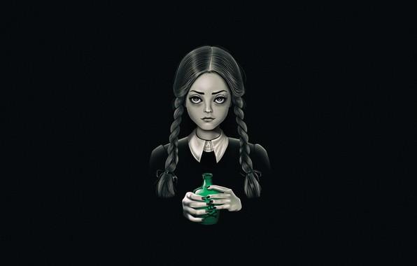 Picture Minimalism, Figure, Art, Addams, Wednesday Addams, The Addams Family, Addams, by Vincenttrinidad, Vincenttrinidad, by Vincent …