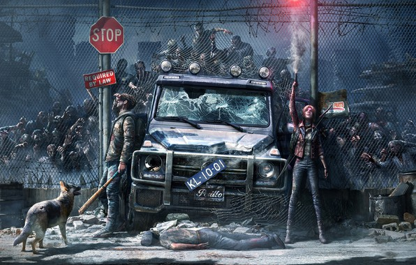Picture Girl, Night, Monsters, The fence, Machine, Grille, Guy, Car, Fantasy, Art, Art, Zombies, SUV, by …