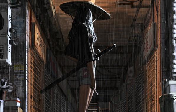 Picture girl, weapons, rain, back, Japan, art