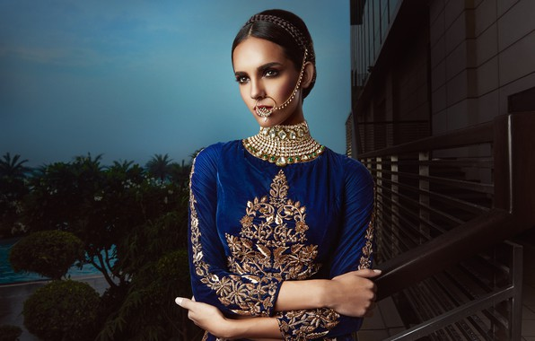 Picture model, pose, indian, blue dress, jewelery, traditional dress, nose ring