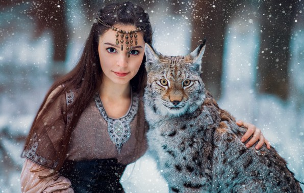 Picture look, girl, snow, face, lynx, friends, wild cat, long hair, Александра Савенкова