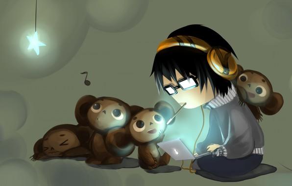 Picture anime, baby, art, laptop, Cheburashka, children's
