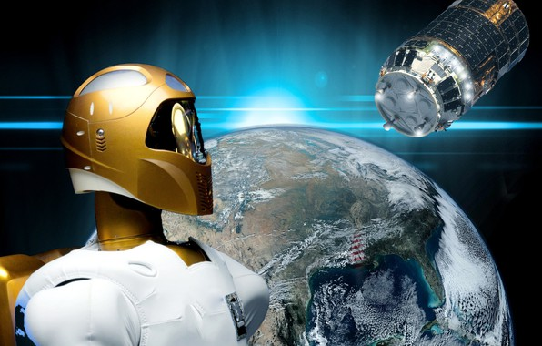 Picture planet, satellite, the robonaut