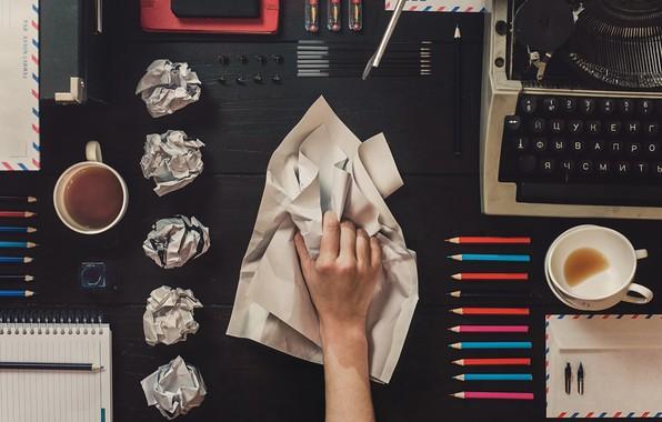 Picture paper, table, pencils, Cup, handle, cup, paper, table, typewriter, pencils, typewriter, stationery, pens, Dina Belenko, …