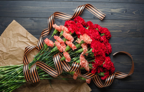 Picture flowers, bouquet, St. George ribbon, red, May 9, flowers, clove, Victory Day, Victory Day