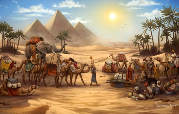Picture Figure, The game, Caravan, Pyramid, Egypt, Elephant, Art, Game, Illustration, Camels, Game Art, Board Game, …
