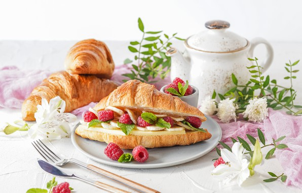 Picture berries, raspberry, Breakfast, cheese, Croissant