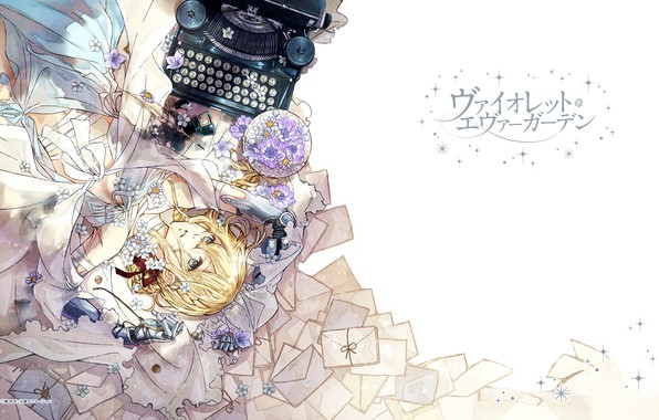 Picture characters, typewriter, blue eyes, art, violet, letters, envelopes, Violet Evergarden, Akiko Takase