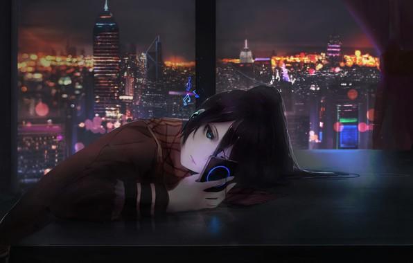 Picture Girl, City, Art, Music, Night, Room, Window, Shigure, Aoi Ogata, MP3