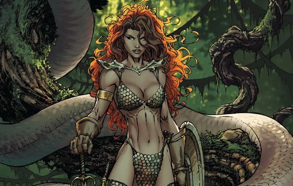 Picture girl, sword, fantasy, snake, trees, weapon, comics, redhead, artwork, shield, warrior, fantasy art, Red Sonja, …