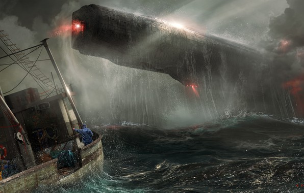 Picture Sea, Storm, The ship, Fantasy, Art, Art, Spaceship, Fiction, Concept Art, Spaceship, Vehicles, Science Fiction, ...