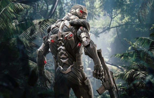 Picture robot, jungle, Crysis, cyborg