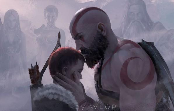 Picture fantasy, game, Kratos, God of War, man, tattoo, weapons, digital art, bow, artwork, warrior, fantasy …