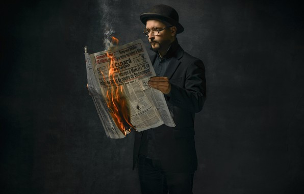 Picture fire, people, newspaper