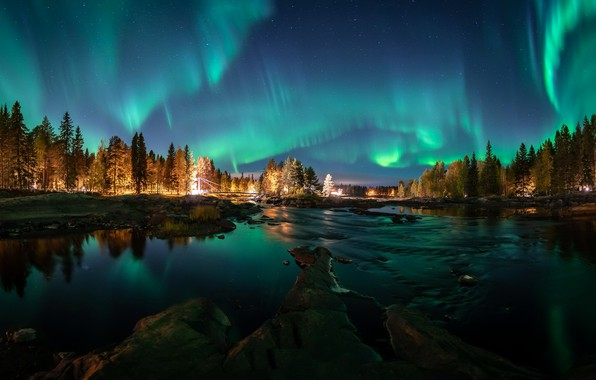 Picture Aurora borealis, night, Autumn colors, Aurora reflection, FInland