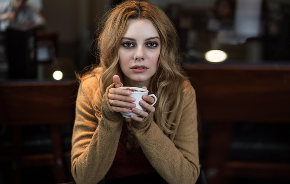 Picture look, pose, model, portrait, makeup, hairstyle, Cup, brown hair, sitting, bokeh, Alexandra, at the table, …