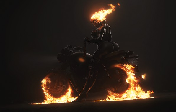 Picture Minimalism, Skull, Fire, Chain, Motorcycle, Background, Ghost Rider, Ghost rider, Flame, Art, Ghost, Figure, Illustration, …