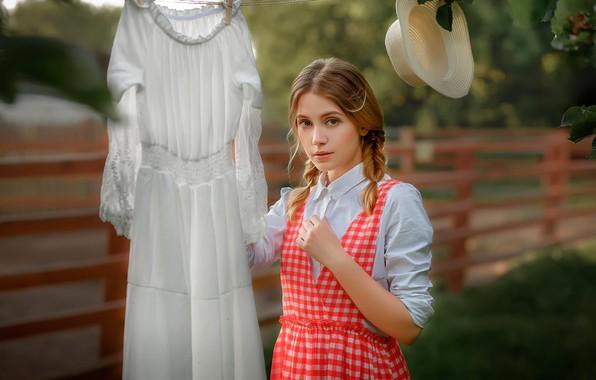Picture look, Girl, hat, dress, beautiful, Ksenia Kokoreva, Nastassja Parshina, Yuriy Zaharov