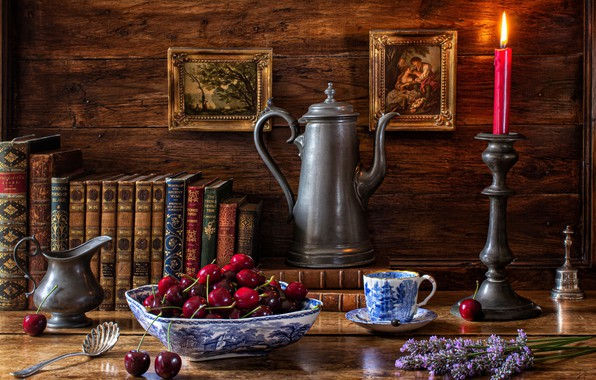 Picture flowers, cherry, style, books, candle, mug, Cup, pictures, still life, lavender, coffee pot