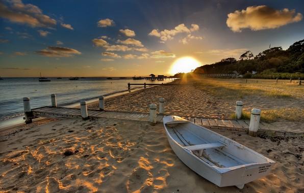 Picture sand, sea, beach, the sun, landscape, sunset, nature, shore, boat