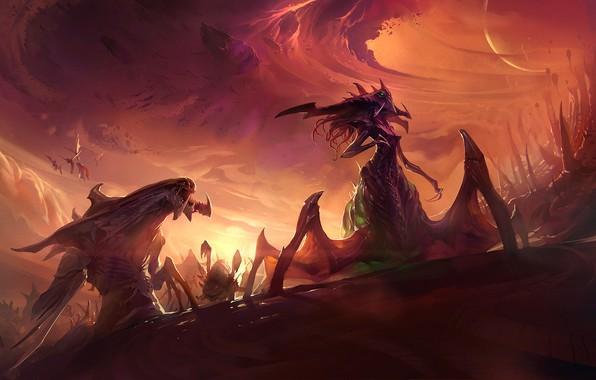 Picture planet, storm, starcraft, Queen, StarCraft, Zerg, strategy, zergs, sun, zagara