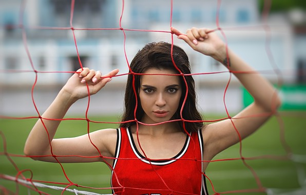 Picture field, look, pose, mesh, model, portrait, makeup, Mike, brunette, hairstyle, beauty, red, stadium, bokeh, Tania ...
