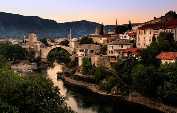 Picture landscape, mountains, bridge, the city, river, home, mosque, Bosnia and Herzegovina, Mostar, Neretva