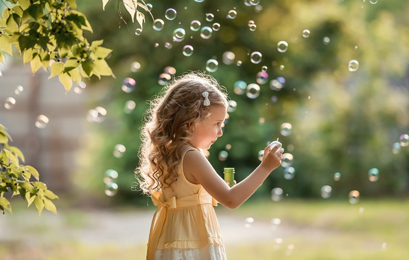Picture summer, leaves, branches, nature, the game, dress, bubbles, girl, child, A Diakov George