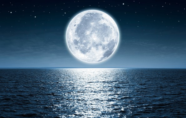 Picture the sky, stars, light, night, the ocean, the moon
