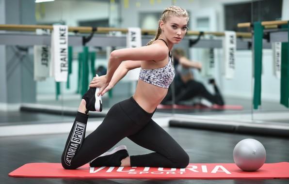 Picture look, pose, model, figure, blonde, fitness, model, hair, blonde, pose, the gym, training, Elsa Hosk, …