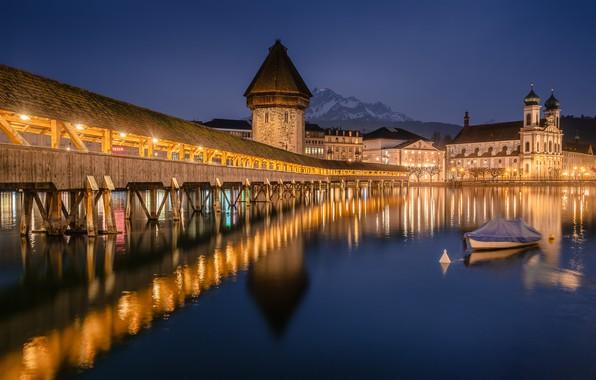Picture bridge, reflection, river, boat, building, home, Switzerland, night city, Switzerland, Lucerne, Lucerne, Reuss River, Chapel …