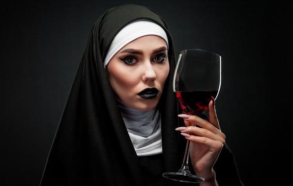 Picture look, girl, face, background, wine, glass, hand, makeup, nun, Karina, nun, Евгений Дёгтев