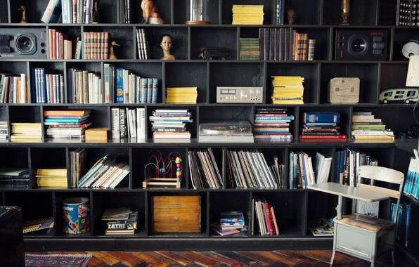 Picture Design, Vinyl, Speakers, Furniture, Interior, Books, Shelves