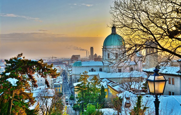 Picture winter, trees, landscape, the city, building, home, Italy, lantern, Cathedral, the dome, Brescia