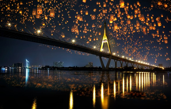Picture night, bridge, the city, reflection, river, shore, building, the evening, lighting, Thailand, lanterns, festival