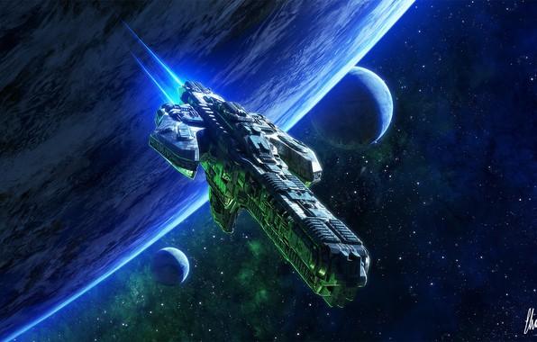 Picture space, fiction, planet, ship, art, space, art, Sci-Fi